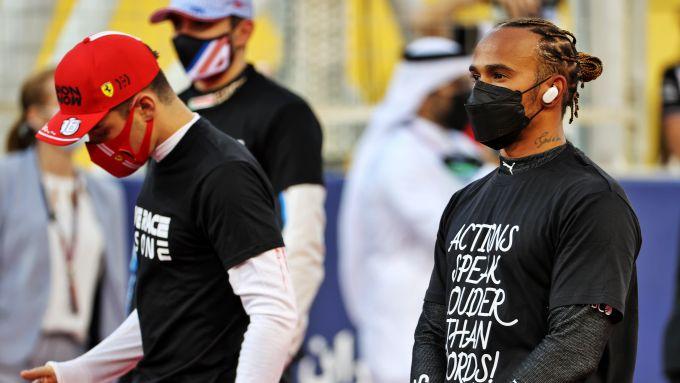 F1 GP Bahrain 2021, Sakhir: Lewis Hamilton in supporto del movimento anti-razzista
