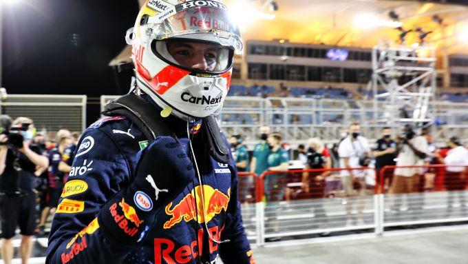 F1 GP Bahrain 2021, Sakhir: Max Verstappen (Red Bull Racing) festeggia la prima pole della stagione