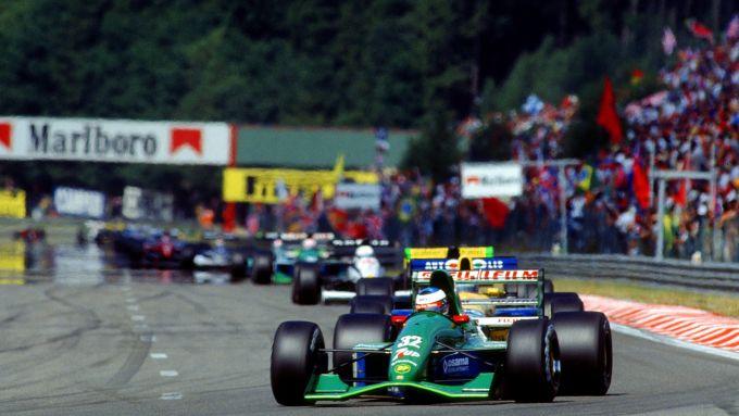 F1, GP Belgio 1991: Michael Schumacher al volante della Jordan 191
