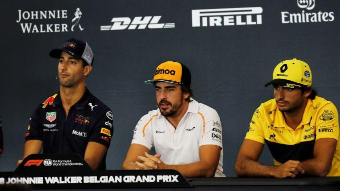 F1 GP Belgio 2018, Spa-Francorchamps: Ricciardo, Alonso e Sainz in conferenza stampa