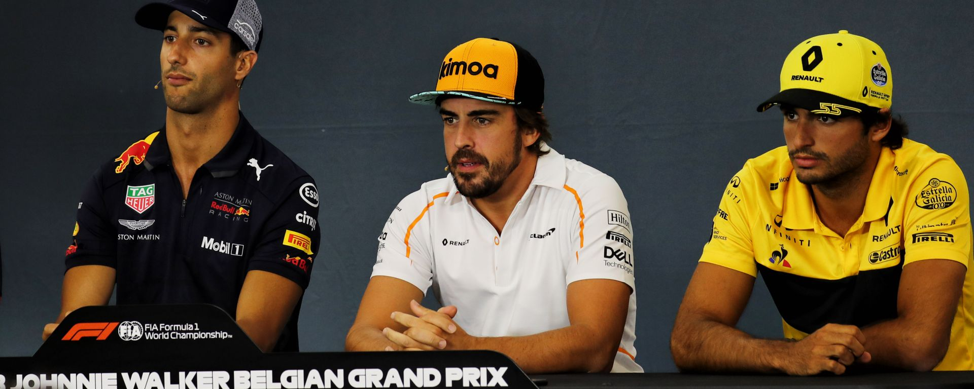 F1 GP Belgio 2018, Spa-Francorchamps: Ricciardo, Alonso e Sainz in conferenza stampa