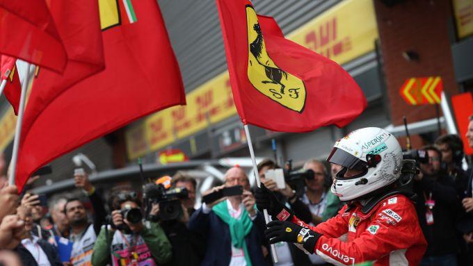 F1 GP Belgio 2018, Spa-Francorchamps: Sebastian Vettel festeggia la vittoria