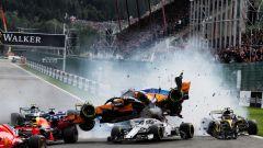 F1 GP Belgio 2018, Spa: l'incidente tra Fernando Alonso (McLaren) e Charles Leclerc (Alfa Romeo Sauber)