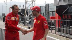 F1 GP Belgio 2019, Sebastian Vettel (Ferrari) con il suo ingegnere di pista, Riccardo Adami