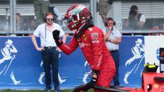 F1 GP Belgio 2019, Spa: Charles Leclerc (Ferrari) festeggia dopo la pole position