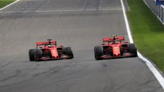F1 GP Belgio 2019, Spa Francorchamps, Sebastian Vettel (Ferrari) fa passare il compagno Charles Leclerc