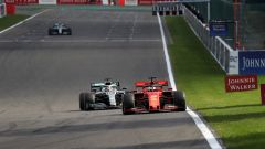 F1 GP Belgio 2019, Spa Francorchamps, Sebastian Vettel (Ferrari) pressato da Lewis Hamilton (Mercedes)