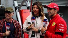 F1 GP Belgio 2019, Spa: la giornalista di Sky, Federica Masolin, con Jacques Villeneuve e Marc Gené