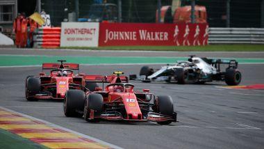 F1 GP Belgio 2019, Spa: Leclerc e Vettel (Ferrari) davanti a Hamilton (Mercedes)