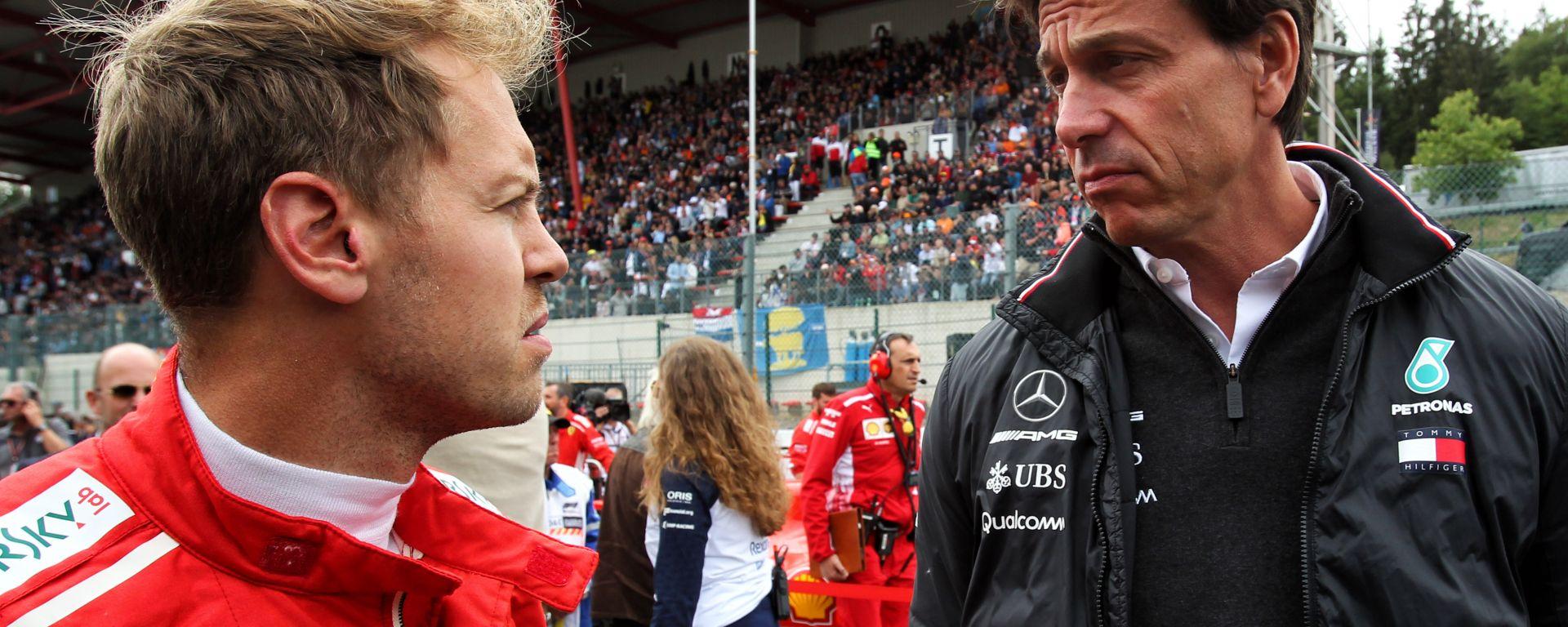 F1 GP Belgio 2019, Spa: Sebastian Vettel (Ferrari) e Toto Wolff (Mercedes)