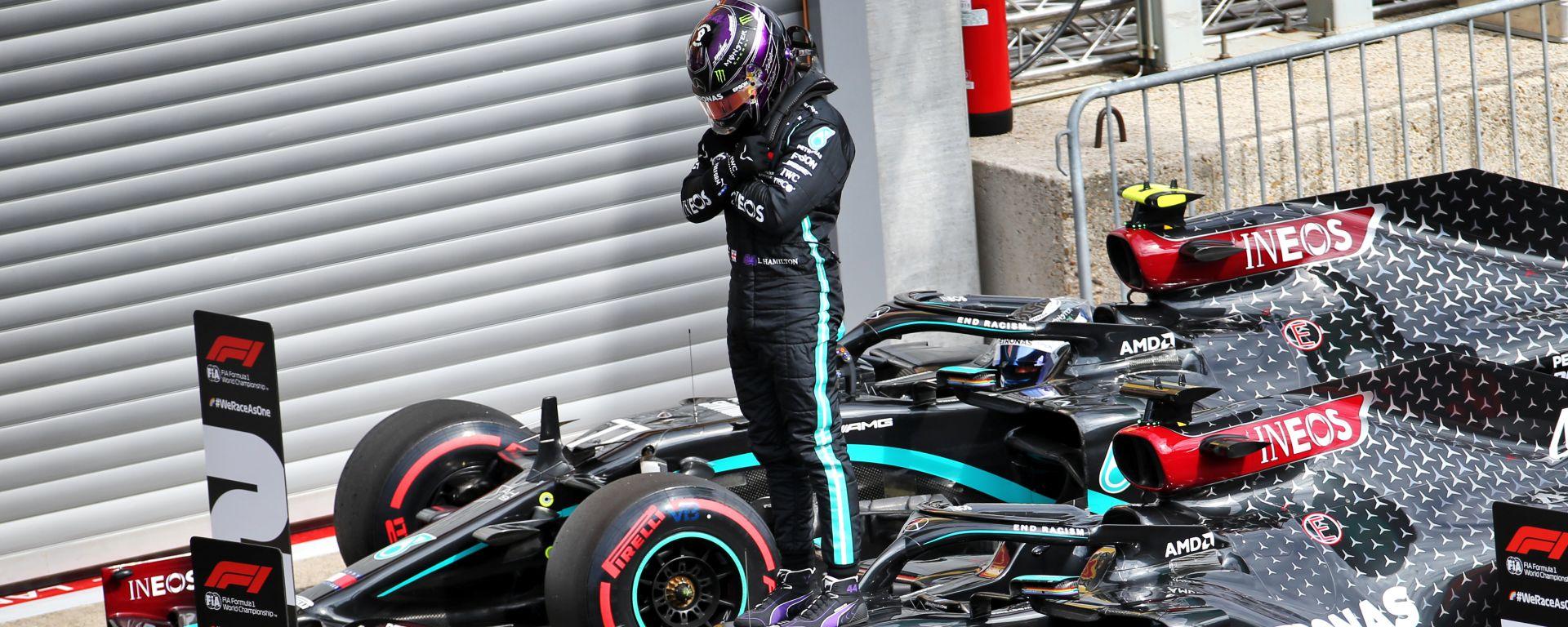 F1, GP Belgio 2020: Lewis Hamilton (Mercedes) festeggia la vittoria