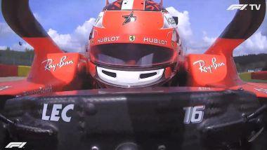 F1 GP Belgio 2020, Spa: Charles Leclerc (Ferrari) nel giro di schieramento in griglia