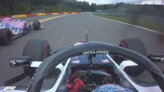 F1 GP Belgio 2020, Spa: Romain Grosjean (Haas) ostacolato da Sergio Perez (Racing Point)