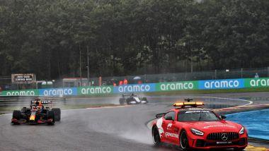 F1, GP Belgio 2021: Max Verstappen (Red Bull) dietro alla Safety Car