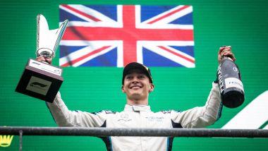 F1 GP Belgio 2021, Spa: George Russell (Williams Racing) festeggia sul podio