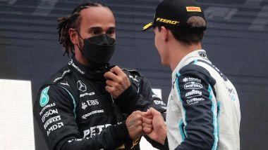 F1 GP Belgio 2021, Spa: Lewis Hamilton (Mercedes) e George Russell (Williams) sul podio