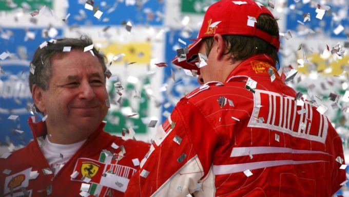F1, GP Brasile 2007: Jean Todt e Kimi Raikkonen (Ferrari)