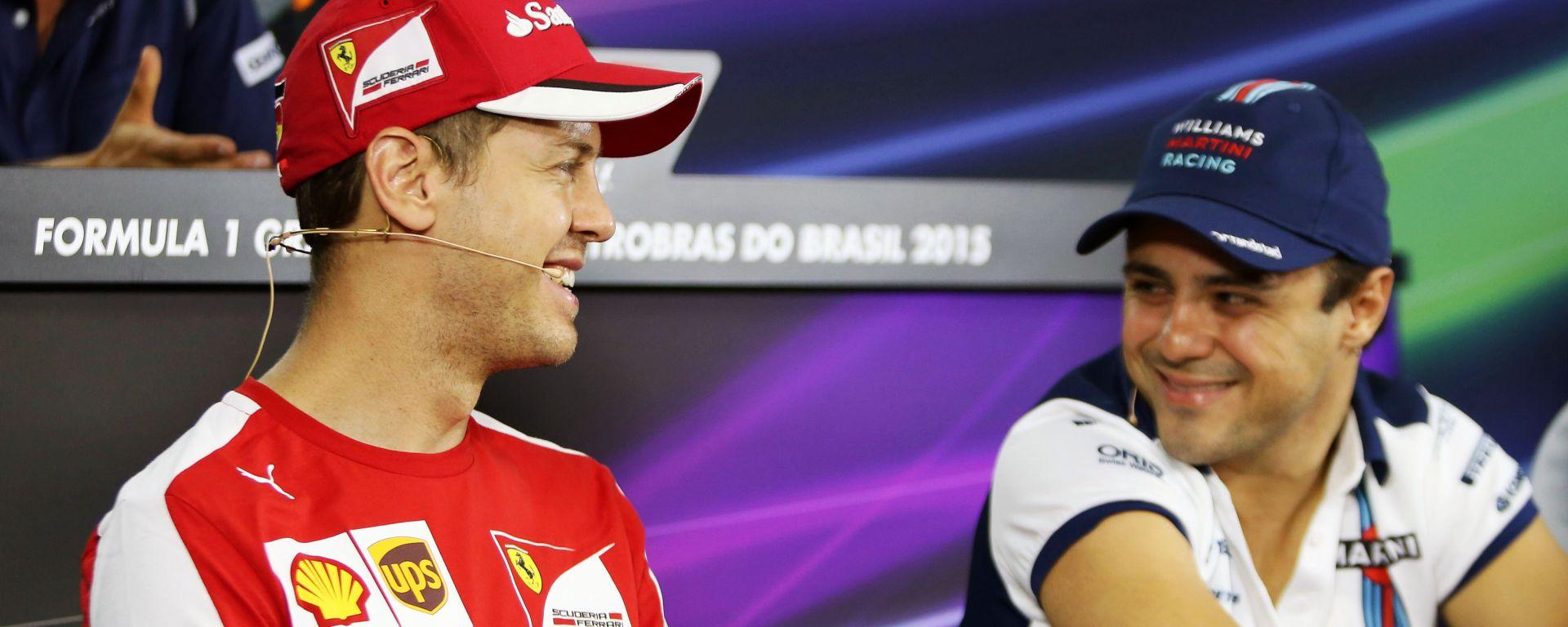 F1, GP Brasile 2015: Sebastian Vettel (Ferrari) e Felipe Massa (Williams) in conferenza stampa