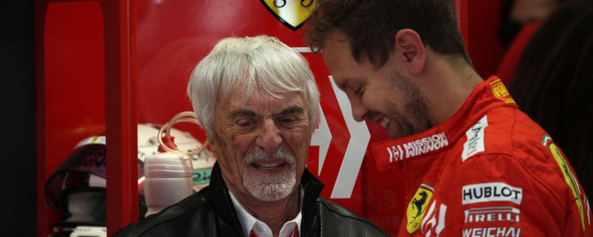 F1, GP Brasile 2019: Bernie Ecclestone nel box Ferrari con Sebastian Vettel