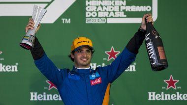 F1 GP Brasile 2019, Interlagos: Carlos Sainz (McLaren) festeggia sul podio il terzo posto
