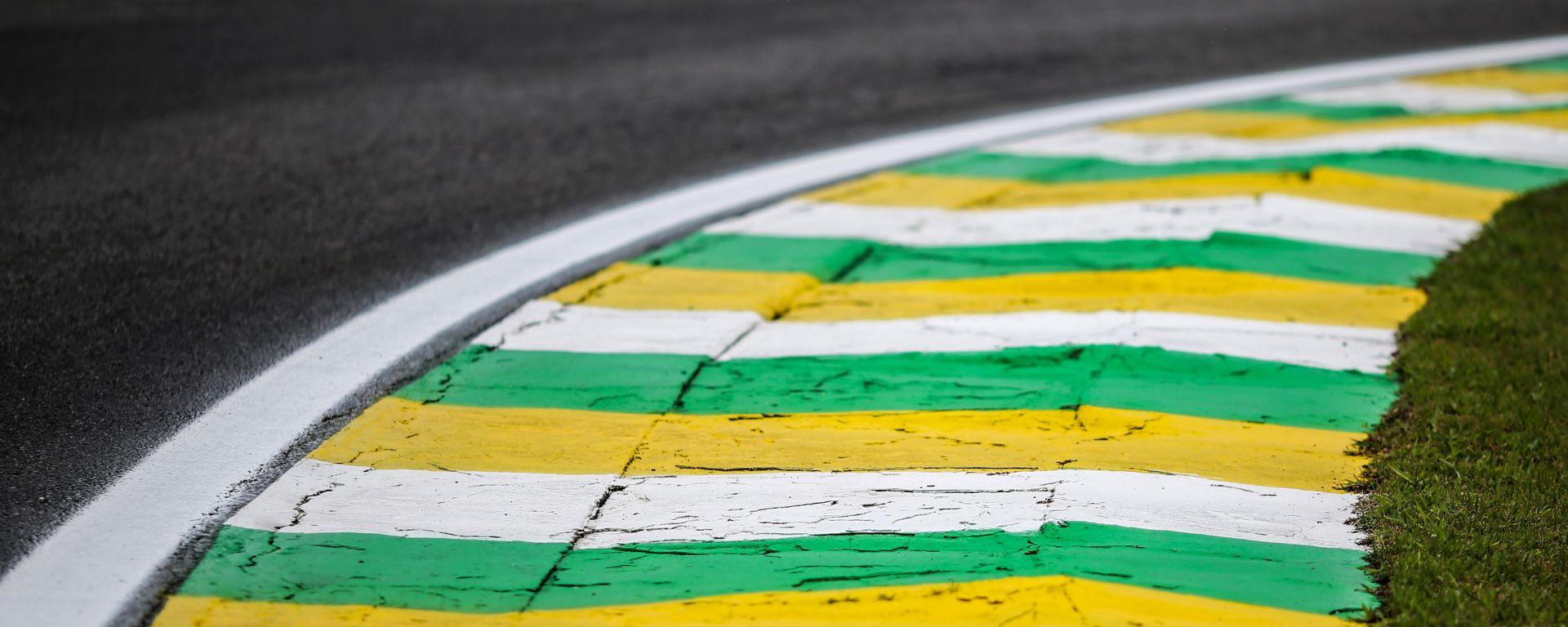 F1 GP Brasile 2019, Interlagos: uno degli iconici cordoli verdeoro della pista di San Paolo