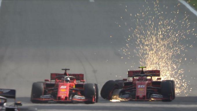 F1, GP Brasile 2019: l'incidente tra le Ferrari di Vettel e Leclerc