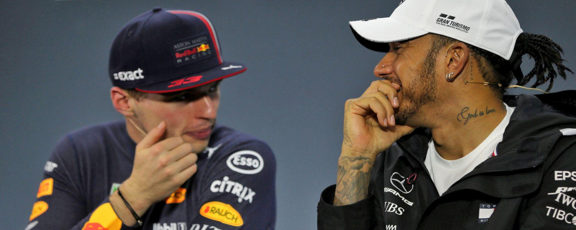 F1, GP Brasile 2019: Max Verstappen (Red Bull) e Lewis Hamilton (Mercedes)