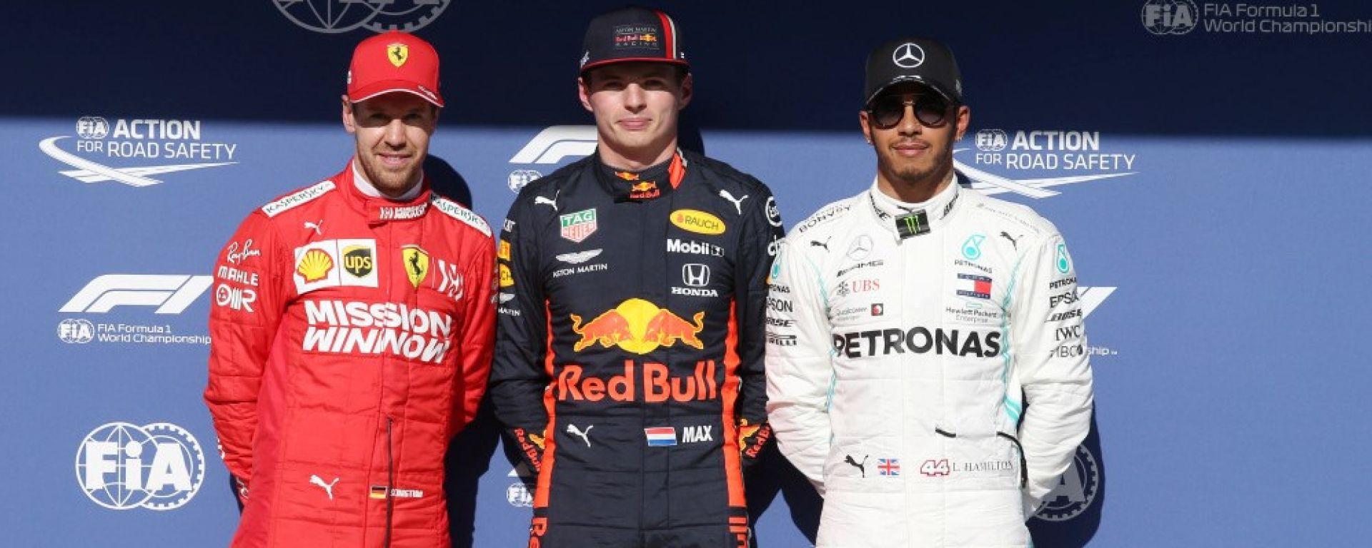 F1, GP Brasile 2019: Sebastian Vettel (Ferrari), Max Verstappen (Red Bull) e Lewis Hamilton (Mercedes) al termine delle qualific