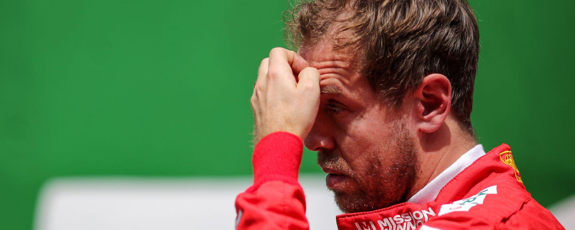 F1, GP Brasile 2019: un corrucciato Sebastian Vettel dopo l'incidente con Charles Leclerc