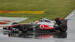 F1 GP Canada 2011, Montreal: Jenson Button guida la sua McLaren sotto la pioggia