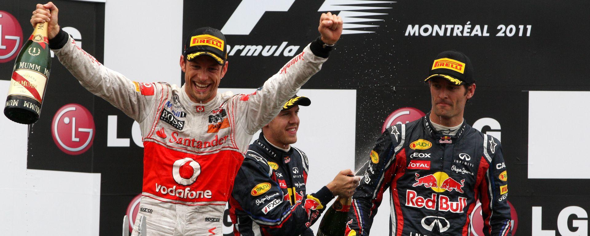 F1 GP Canada 2011, Montreal: Jenson Button (McLaren) sul podio