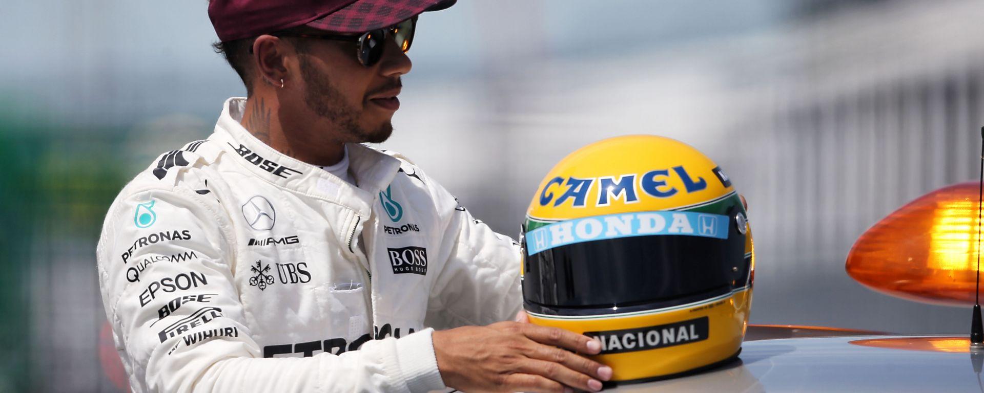 F1, GP Canada 2017: Lewis Hamilton con il casco di Ayrton Senna