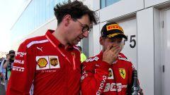 F1 GP Canada 2019, Montreal: Mattia Binotto e Sebastian Vettel (Ferrari) dopo l'arrivo polemico