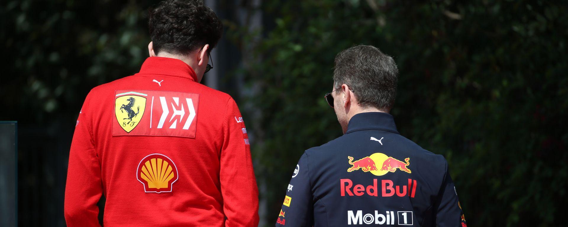 F1 GP Cina 2019, Shanghai: Mattia Binotto (Ferrari) e Christian Horner (Red Bull)