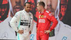 F1 GP Cina 2019, Vettel a colloquio con Hamilton dopo la bandiera a scacchi