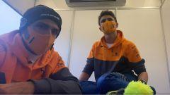 F1, GP Eifel 2020: Carlos Sainz e Lando Norris durante la diretta Twitch interrotta