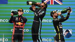 F1, GP Eifel 2020: la bevuta collettiva di Verstappen, Hamilton e Ricciardo