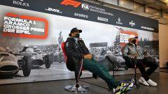 F1, GP Eifel 2020: Lewis Hamilton e Valtteri Bottas (Mercedes) durante la conferenza stampa del giovedì