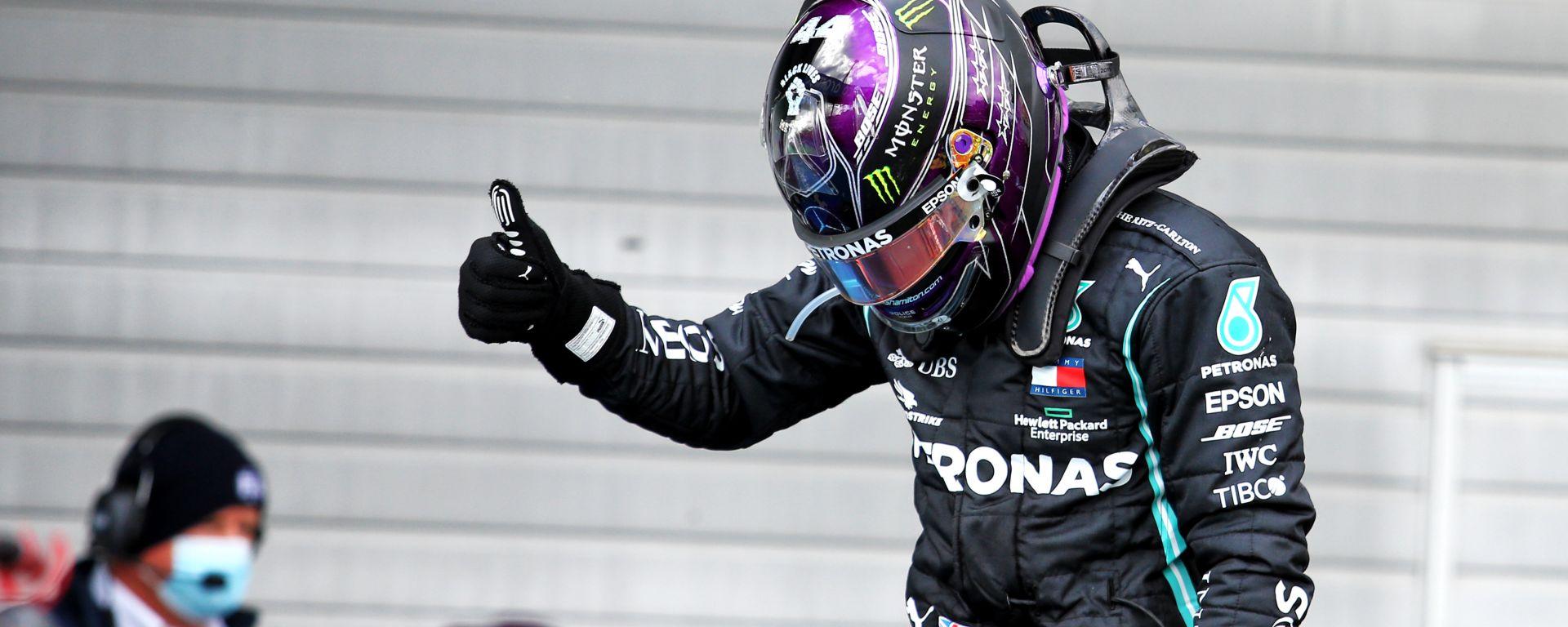 F1, GP Eifel 2020: Lewis Hamilton (Mercedes) festeggia la 91esima vittoria in carriera