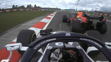 F1 GP Eifel 2020, Nurburgring: Il contatto tra Alexander Albon (Red Bull) e Daniil Kvyat (AlphaTauri)