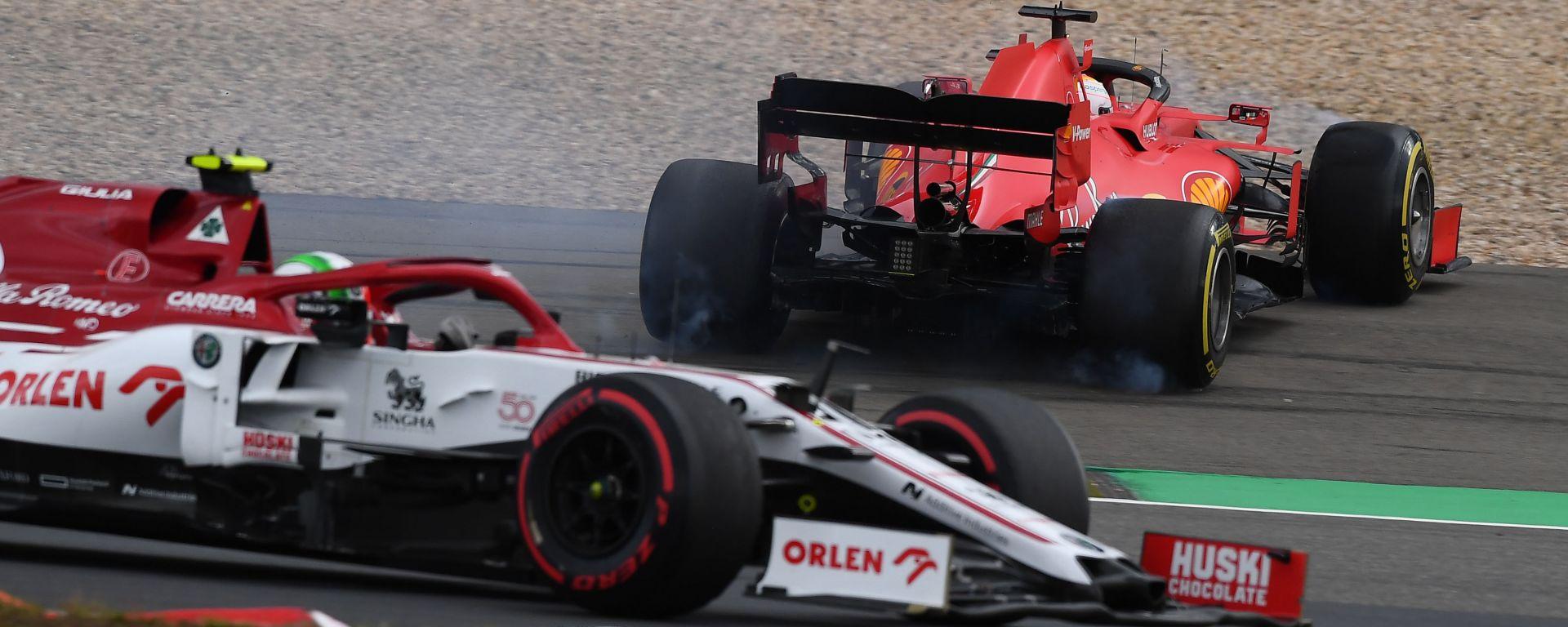 F1 GP Eifel 2020, Nurburgring: il testacoda di Sebastian Vettel (Scuderia Ferrari)