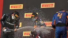 F1 GP Emilia Romagna 2020, Imola: il podio con Max Verstappen (Red Bull), Lewis Hamilton (Mercedes), Lando Norris (McLaren)