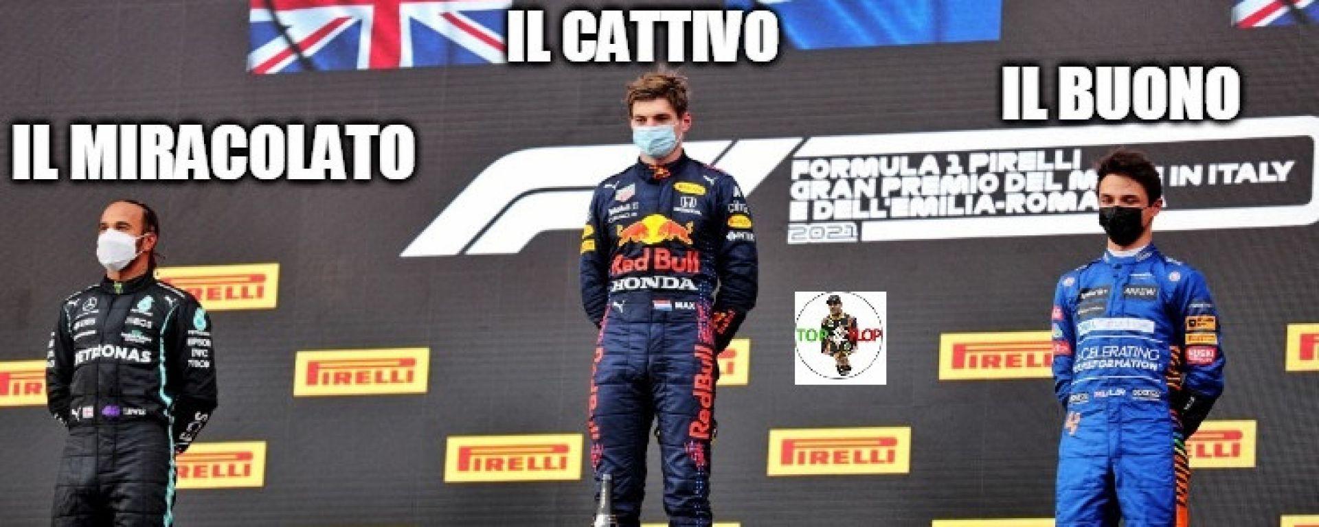 F1, GP Emilia Romagna 2021: il podio da film western
