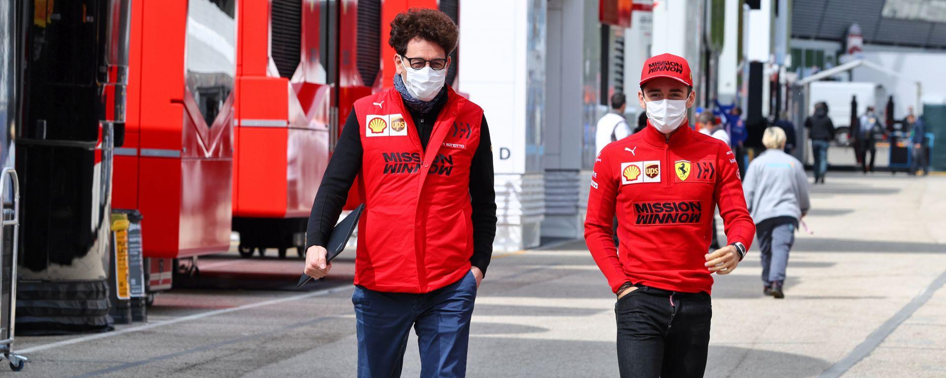 F1 GP Emilia Romagna 2021, Imola: Charles Leclerc con Mattia Binotto (Scuderia Ferrari) nel paddock