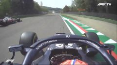 F1 GP Emilia Romagna 2021, Imola: Gasly (AlphaTauri) sorpassa Giovinazzi (Alfa Romeo) in bandiera rossa