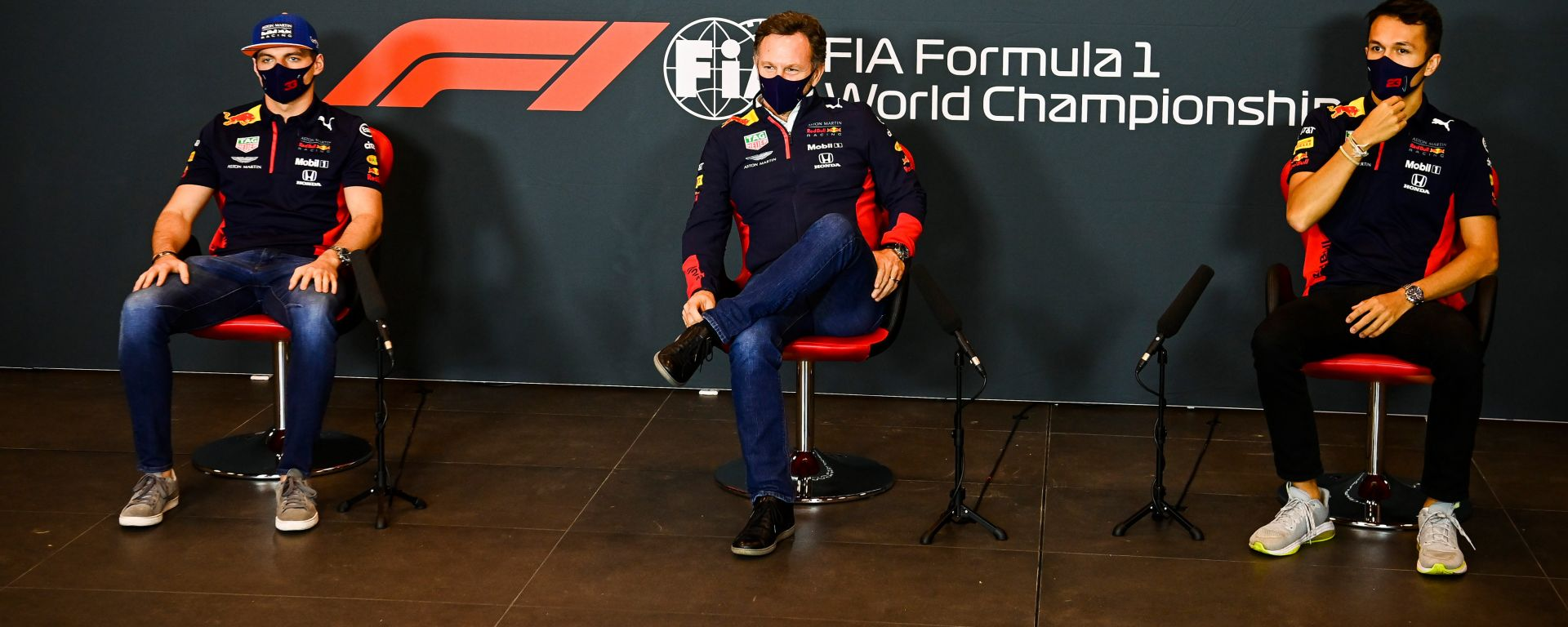 F1, GP Emilia Romagna: Max Verstappen, Chris Horner e Alex Albon (Red Bull)