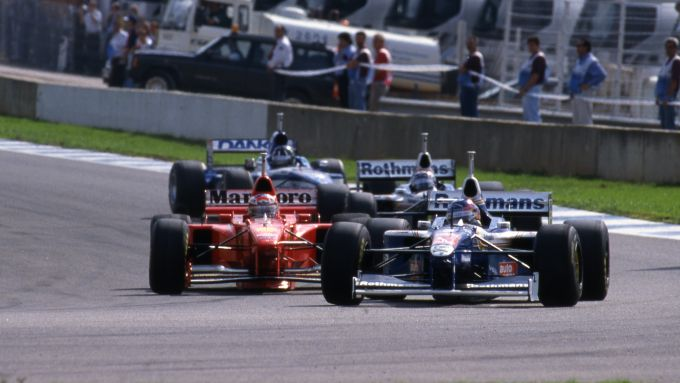 F1 GP Europa 1997, Jerez: Villeneuve (Williams) su Schumacher (Ferrari), Frentzen (Williams) e Hill (Arrows)
