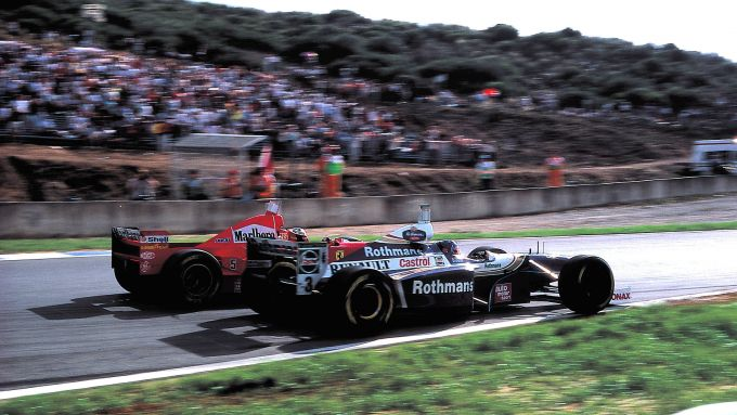 F1, GP Europa 1997: Michael Schumacher (Ferrari) e Jacques Villeneuve (Williams)