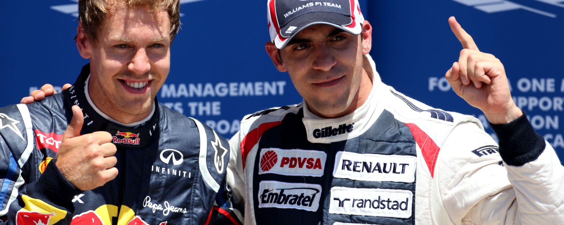 F1, GP Europa 2012: Sebastian Vettel (Red Bull) e Pastor Maldonado (Williams) al termine delle qualifiche