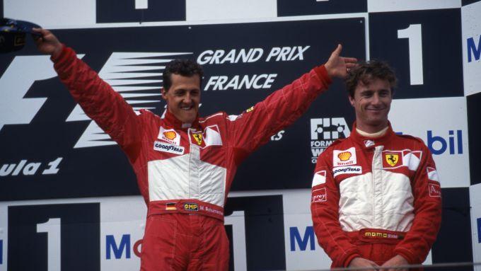 F1 GP Francia 1997, Magny-Cours: Michael Schumacher e Eddie Irvine (Scuderia Ferrari)